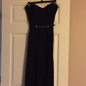 Strapless black one piece dress pant/top